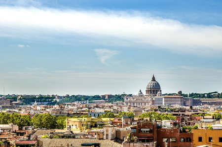 View of the sunlit city and St. Peter's Basilica. Rome Italy 写真素材