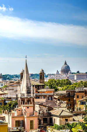 View of the city from one of the hills. Rome Italy