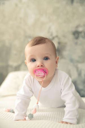 A baby with a pink pacifier in her mouth looks at the camera. 写真素材