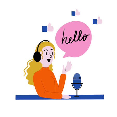 Podcast vector illustration, where lady is saying hello to her listeners via microphone
