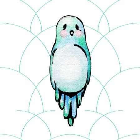 passerine: Blue watercolor bird