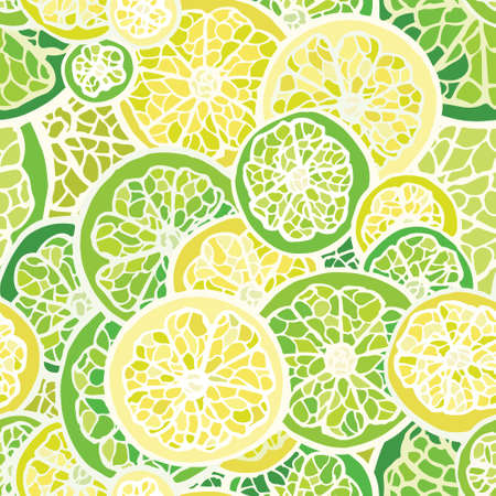 Seamless pattern with lime and lemon Illustration