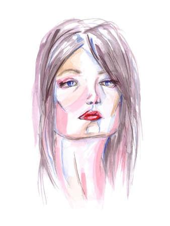 blue eyes: Watercolor portrait of a woman. Red lips, blue eyes