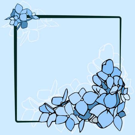 Blue Flowers On Black Frame Vector