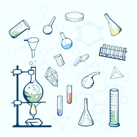 sketched icons: Chemistry lab icons. Sketched illustration.