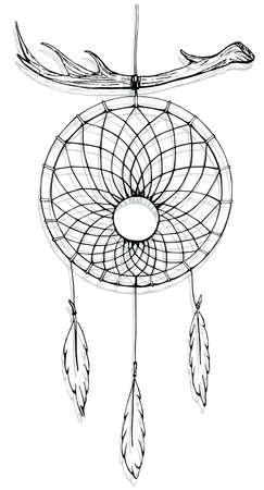 Indian dream catcher. American indians. Ethnic sketch style illustration Иллюстрация