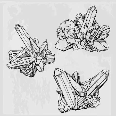 gemstone: Hand drawing crystal gems. Geometric gemstone
