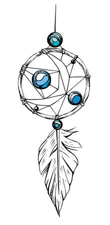 catcher: Indian dream catcher. American indians. Ethnic sketch style illustration.
