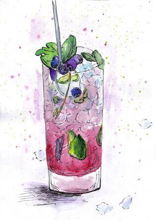 drink blueberry watercolor cold bar glass watermelon Фото со стока