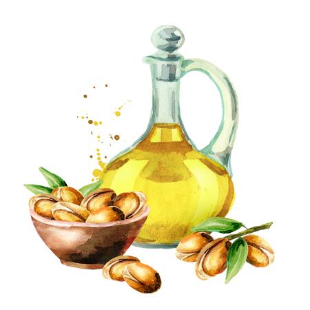 Hand getekend aquarel samenstelling met flessen arganolie en een tak van noten. Kan worden gebruikt als achtergrond voor ansichtkaarten, boekjes, folders, spandoeken of flyers voor cosmetica of voedingsmiddelen