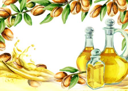 Argan nuts and argan oil card. Hand drawn watercolor