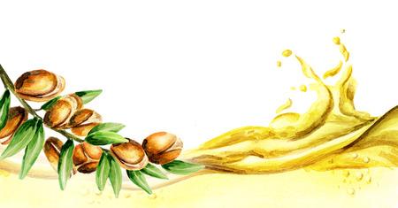 Argan oil wave, watercolor Banque d'images