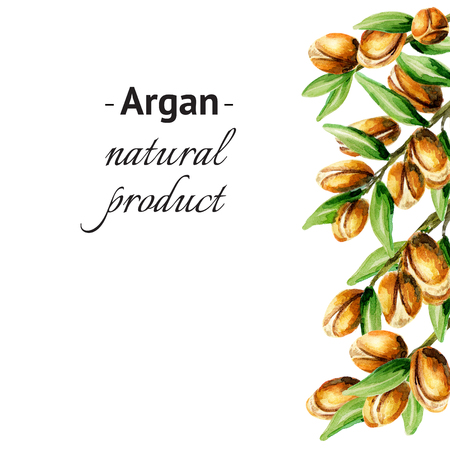 Argan vertical template. Watercolor background