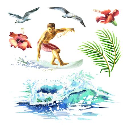 若いサーファー、海の波、ヤシの枝、シェル、カモメ、ハイビスカスの花と大きな手描き水彩セット 写真素材 - 76003515