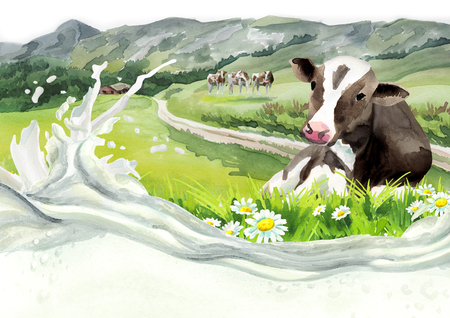 vacas lecheras: Cow in a landscapeand milk wave. Watercolor background Foto de archivo