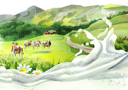 Koeien in een weide en een melkgolf. Hand getekend aquarel achtergrond