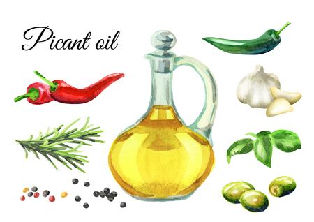 Picant olie set. Handgetekende aquarel Stockfoto