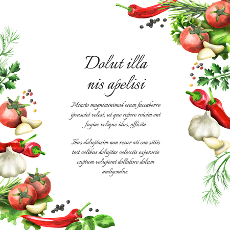 Herbs and spices background. Watercolor template