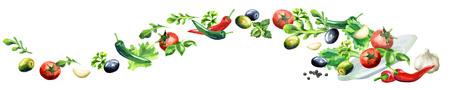 サラダ パノラマ画像の手描き水彩
