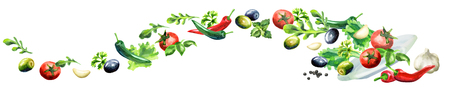 Salad panoramic image hand drawn watercolor Banque d'images