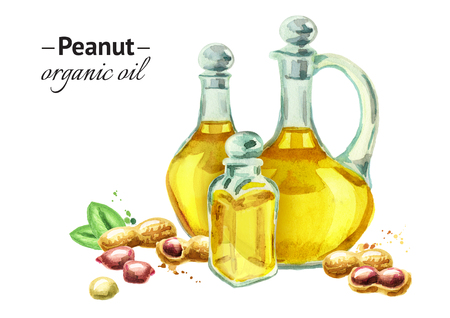 Hand drawn watercolor composition with bottles of peanut oil and nuts Stock Photo