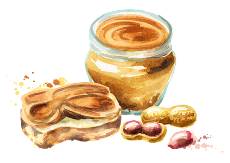 Peanut butter hand drawn watercolor illustration Imagens