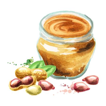 Erdnussbutter. Aquarell Hand gezeichnet Illustration Standard-Bild - 75804487