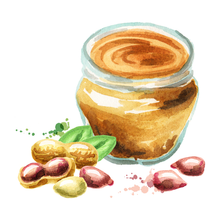 Peanut butter. Watercolor hand drawn illustration 版權商用圖片