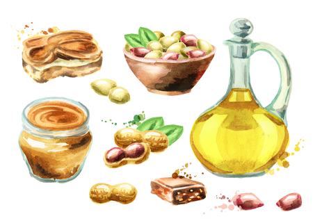 Peanut products set. Watercolor hand drawn 版權商用圖片