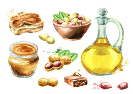 Peanut products set. Watercolor hand drawn Foto de archivo