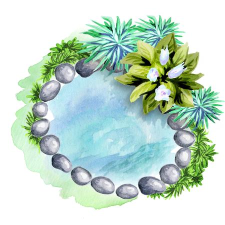 Zierteich und Gartenpflanzen. Element der Landschaftsgestaltung. Aquarell Standard-Bild - 76039842