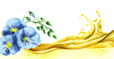 linum: Flax oil wave, watercolor Stock Photo