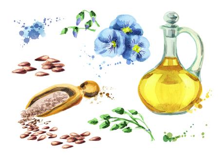 Flax set. Watercolor