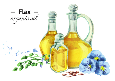 Hand drawn watercolor composition with three different size bottles of Flax oil and with blue flowers