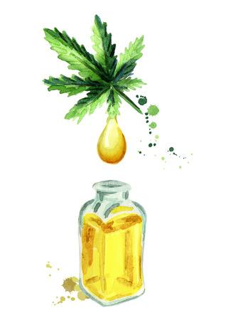 Natural Hemp oil.Hand drawn watercolor