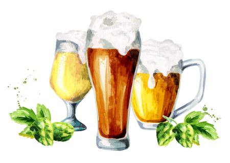 Colors of beer. 3 glasses and hops Stock Photo