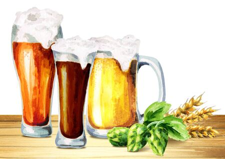 Kinds of beer. 3 glasses. Watercolor
