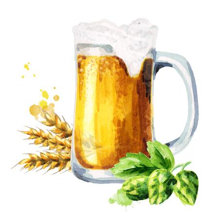 Mug of light beer, hops and malt. Watercolor