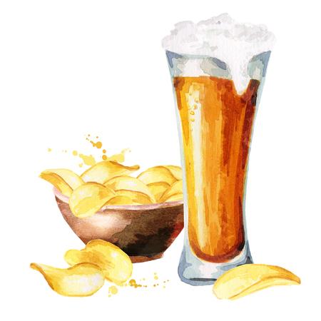 Bieren en chips. Aquarel hand tekening illustratie