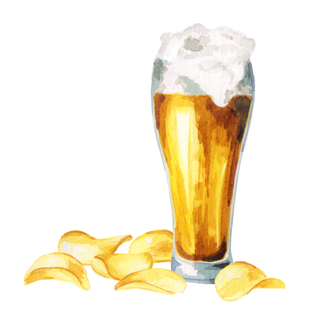 brewery: Beers and crisps. Watercolor