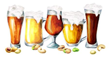 Different varieties of beer and snacks. Watercolor Stock Photo