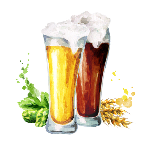 cereal bar: Dark and light beer, hops and malt. Watercolor