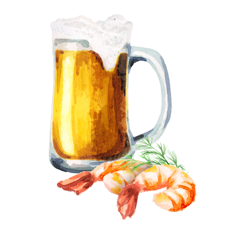Beer and shrimps. Watercolor Stock Photo