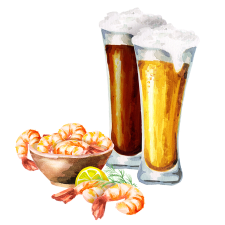 Beers and shtimps. Watercolor