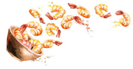 Bowl of Shrimps. Watercolor