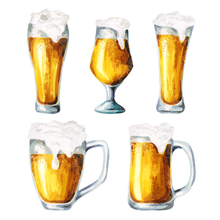 Beer glasses. Watercolor 版權商用圖片