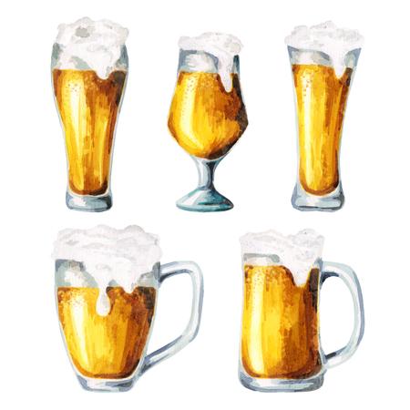 Beer glasses. Watercolor Foto de archivo
