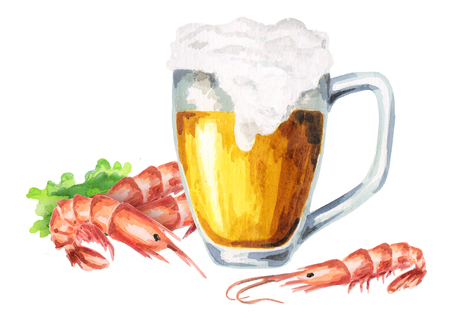 Beer and shrimps. Watercolor composition Stock Photo
