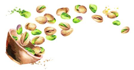Kom met pistachenoten. Hand getrokken horisontal aquarel