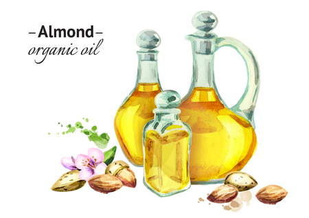 Hand drawn watercolor composition with bottles of almond oil and nuts Stock Photo